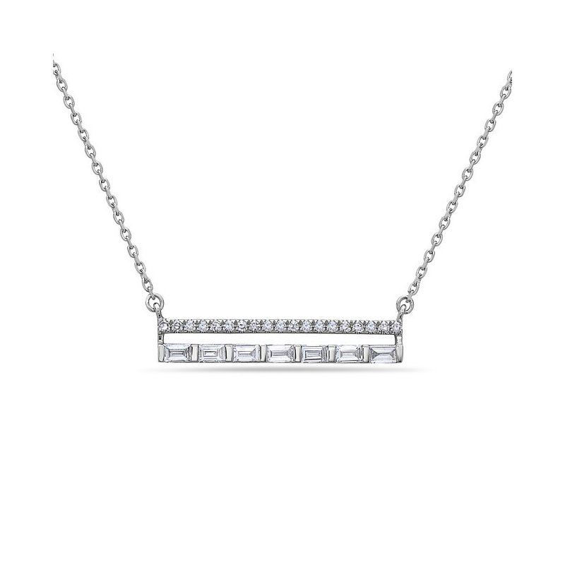 """Stylish Diamond and Baquette Bar Pendant on an 18"""" Chain"""