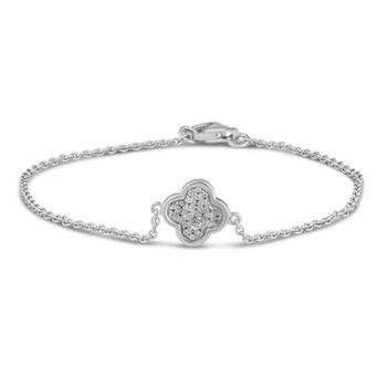 White Sterling Silver Quatrefoil Bracelet Length 7.5