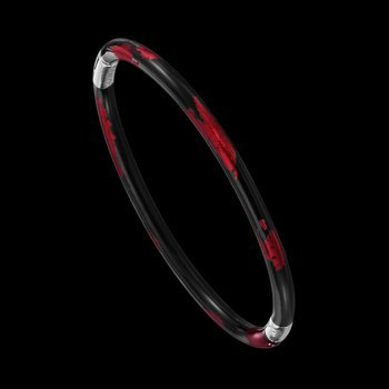 Red And Black Sterling Silver 3 mm Foliage Bracelet