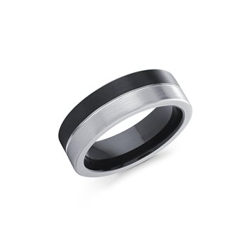 7 m.m. Black and White Cobalt Ring