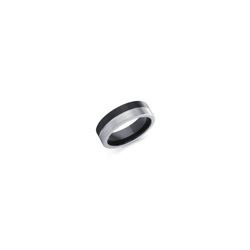 7 m.m. Black and White Cobalt Ring