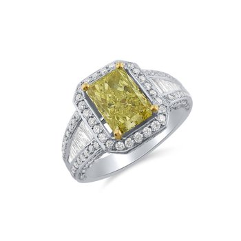 Intense Yellow Radiant Cut Diamond in Stylish Halo Ring