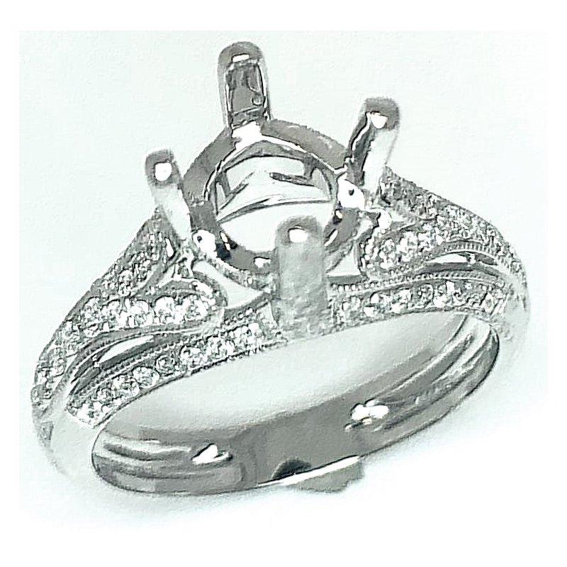 14kt White Gold Vintage Inspired Milgrain Ring
