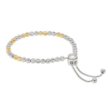 White and Yellow Sterling Silver Diamond Cut Bead Adjustable Bracelet