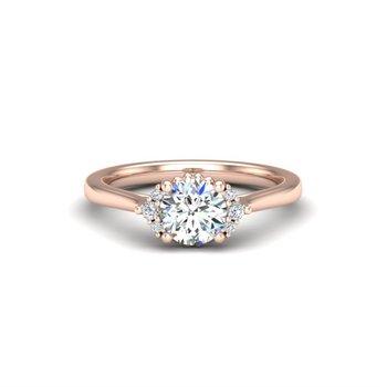 14 Karat Cathedral Ring Mounting With 6 Round Diamonds