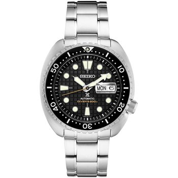 White and Black Automatic Stainless Steel Seiko Watch