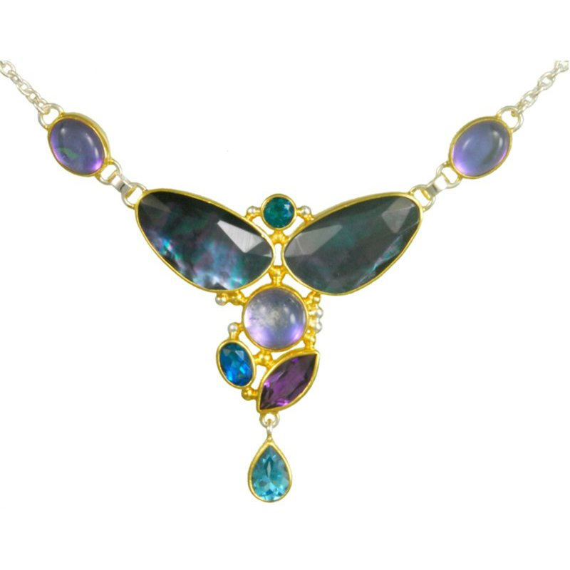 Sterling Silver & 22 Karat Yellow Gold Vermeil Necklace with Colored Gemstones