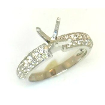 14kt White Gold ring with Triple Row of Diamonds