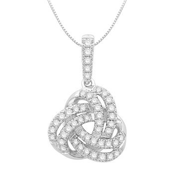 "10 Karat Knot Pendant With Round Diamonds On An 18""  Fine Rope"