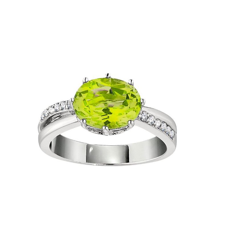White Gold Diamond and Peridot Ring