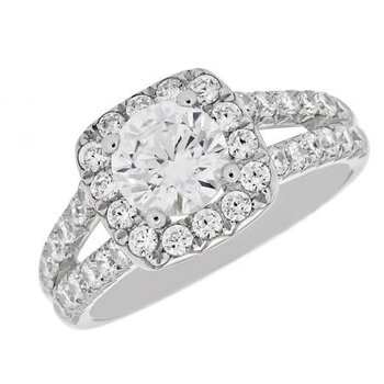 14 Karat White Halo, Split Shank Ring with Diamonds