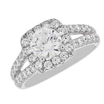 14 Karat White Halo, Split Shank Ring with Diamonds
