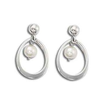 14 Karat Double Ring Drop Pearl Earrings