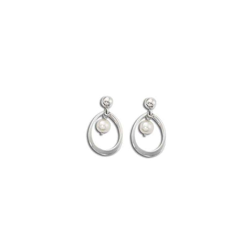 14 Karat Double Ring Drop Pearl Earrings