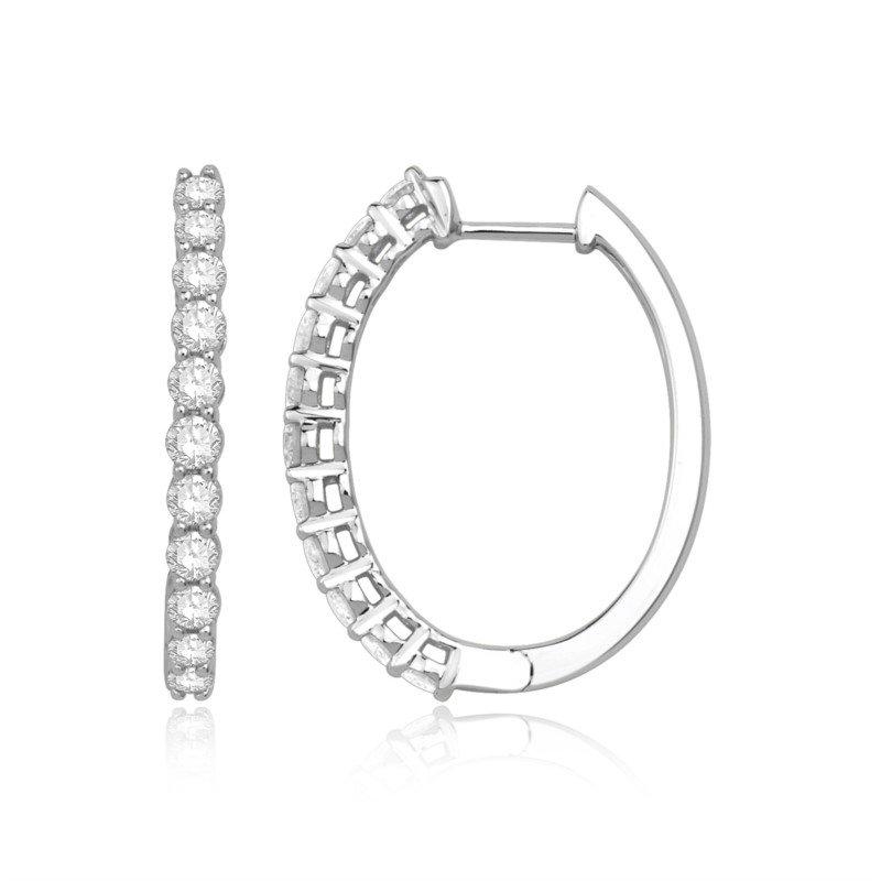 White Polished 14 Karat Large Hoop Earrings