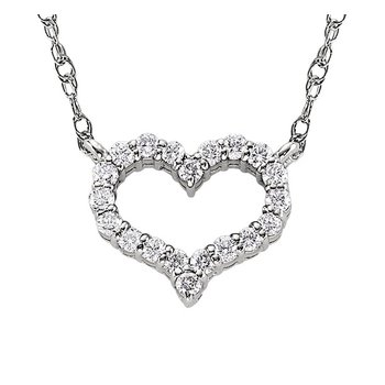 Curvey Diamond Heart Pendant in White Gold