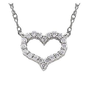 Curvey Diamond Heart Pendant in White Gold