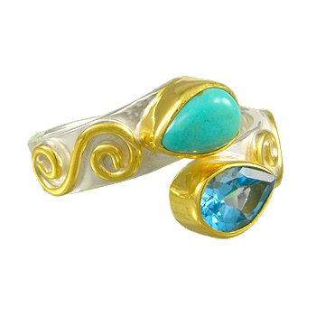 Sterling Silver Ring with Delicate Scroll Work, Turquoise and Topaz