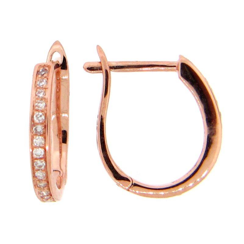 Rose 14 Karat Huggie Earrings with Diamonds