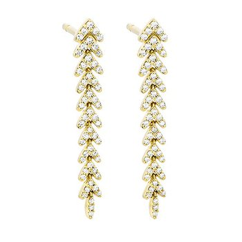 14 Karat Yellow Gold Feather Inspired Diamond Earrings