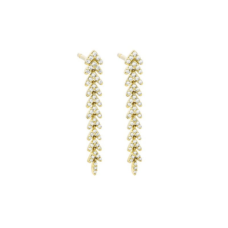 14 Karat Yellow Gold Feather Inspired Diamond Earrings
