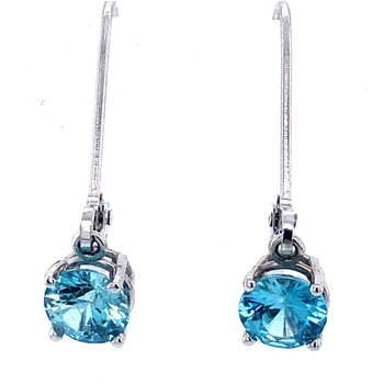 Bright Blue Zircon Drop Earrings