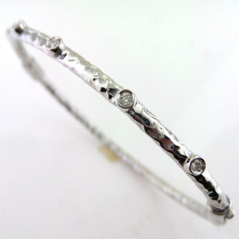 3 mm Sterling Silver and Enamel Hammered Bangle Bracelet