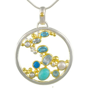 Sterling Silver Freeform Pendant with Scattered Blue Gemstones