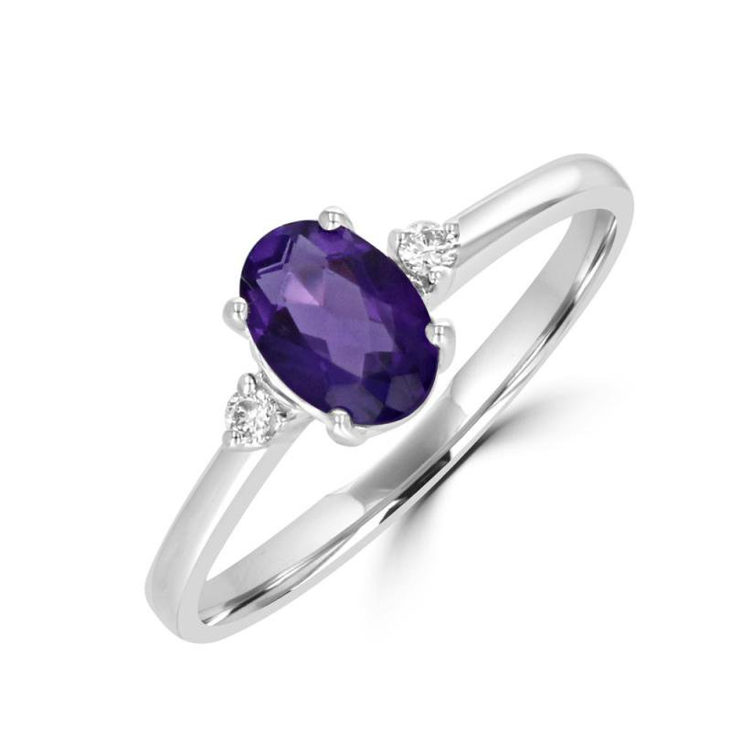 Classic White Gold 3 Gemstone Ring in Amethyst and Diamond