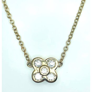 14kt Yellow Gold Bezel Quatrefoil Diamond pendant