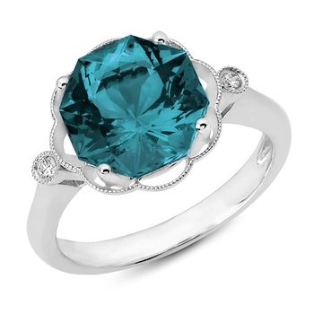 4.50 carat London Blue Topaz Ring with Two Side Diamonds