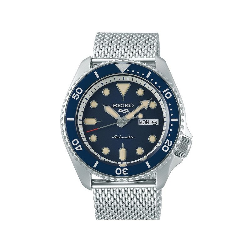 White and Blue Stainless Steel Automatic Seiko Watch On Mesh Bracelet