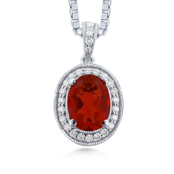 14 Karat Uniquely Colored Fire Opal Pendant With Diamonds