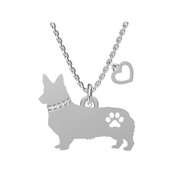 Sterling Silver Corgi Necklace with Heart Dangle
