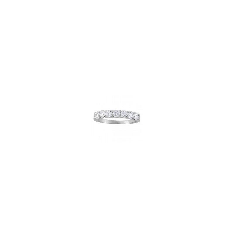 14kt White Gold 7-Diamond Shared Prong Wedding Ring
