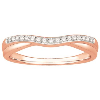 14 Karat Rose Gold Curved Diamond Band