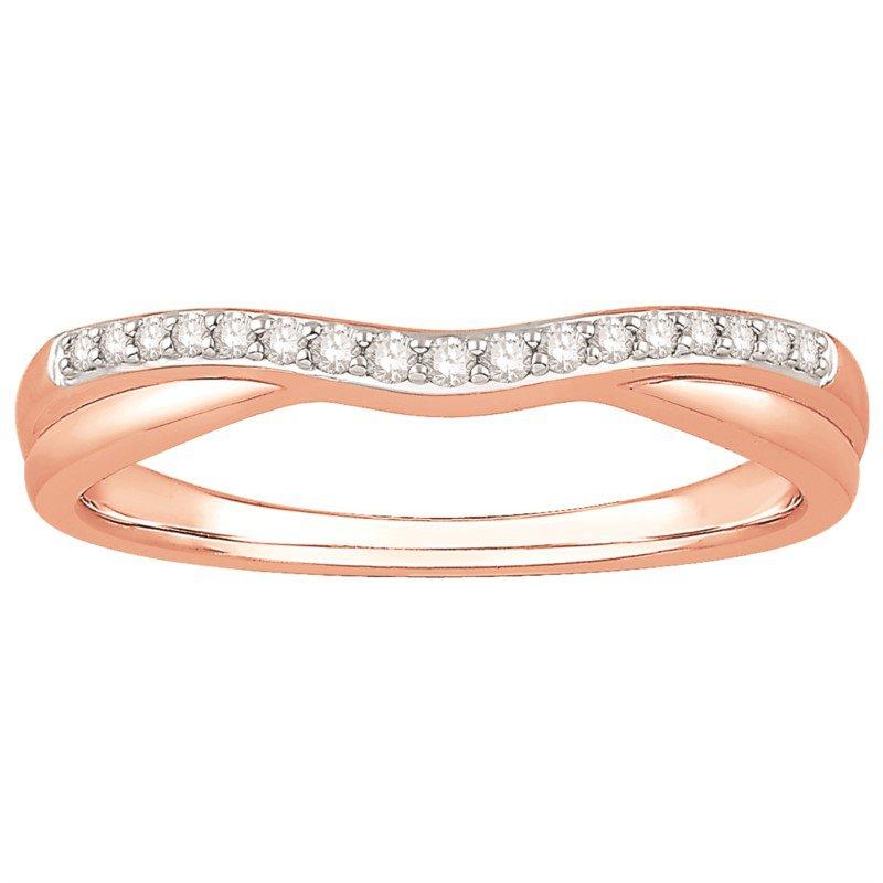 14 Karat Rose Gold Curved Diamond Band