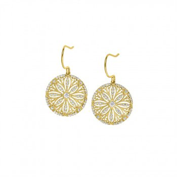 Sterling Silver Micropave Earrings With Simulated Diamonds