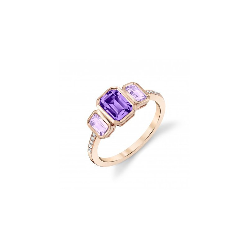 Unusual Two Colors of Amethyst Ring in Rose Gold