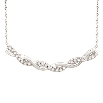 "White Gold Twist Curve Diamond Bar Pendant on an 18"" rope Chain"