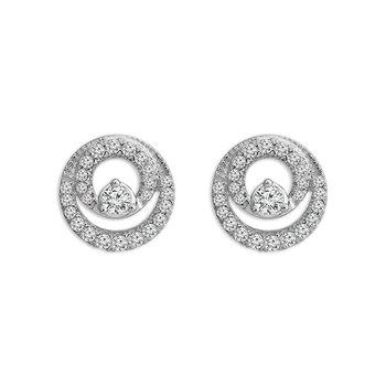 White Gold Diamond Open Circle Earrings