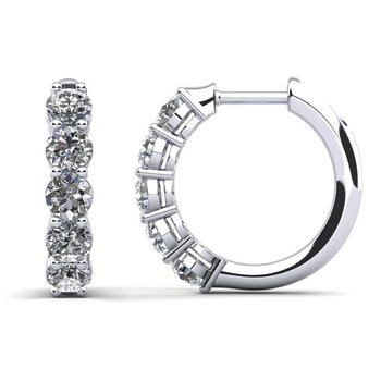 14 Karat White Gold Diamond Hinged Hoop Earrings