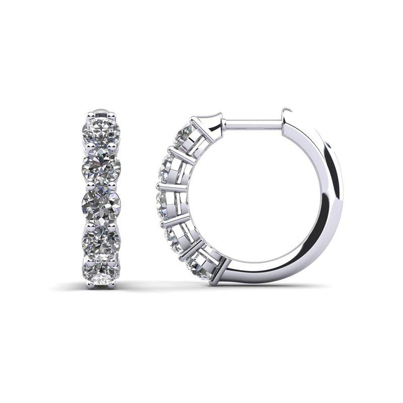 14 Karat White Gold Diamond Hinged Hoop Earrings