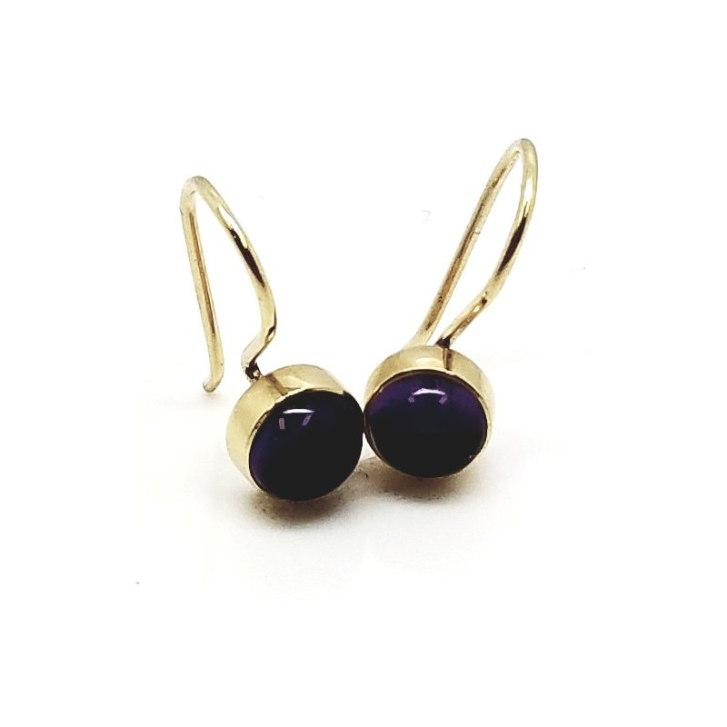 14 Kt Yellow Gold Bezel Stud Earrings With Cabochon Amethyst