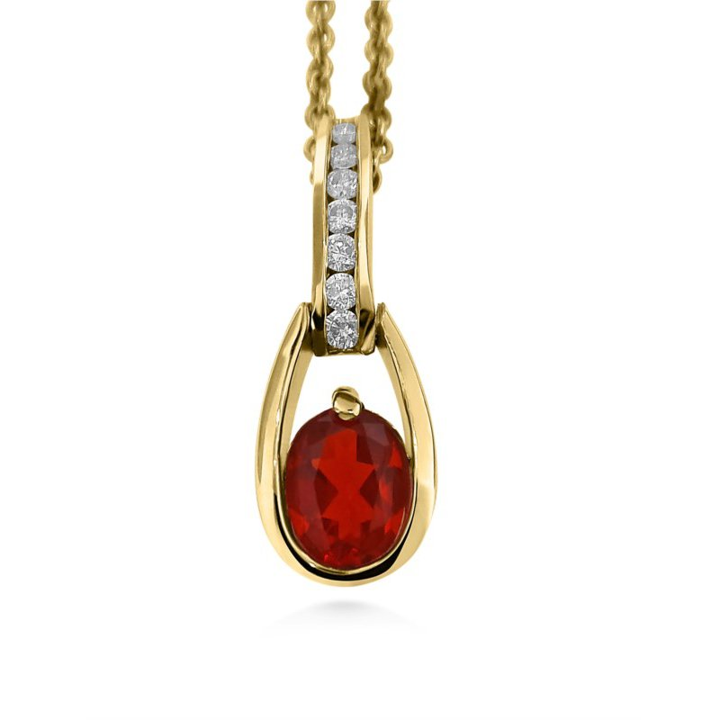 14 Karat Firery Red  Fire Opal and Diamond Pendant