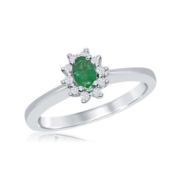 Vintage Inspired 14 Karat White Gold Diamond and Emerald Ring