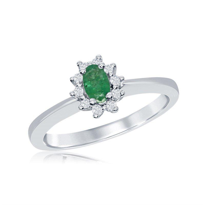 Vintage Inspired 14 Karat White Gold Diamond and Emerald Ring