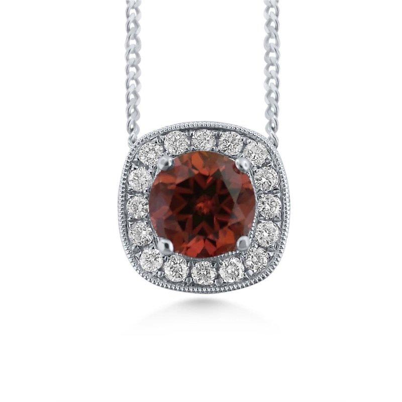 14 Karat Pendant with Rare Brown Zircon and Diamonds