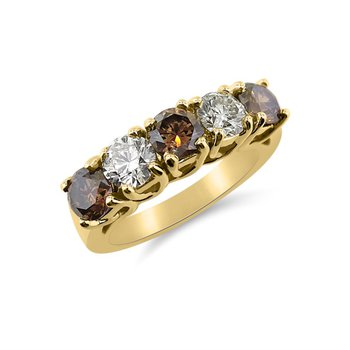 Natural Brown and Yellow Diamonds in Clean Design Band