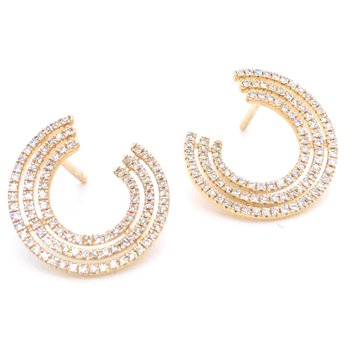 14 Karat Yellow Gold 3 Row Swirl Diamond Earrings